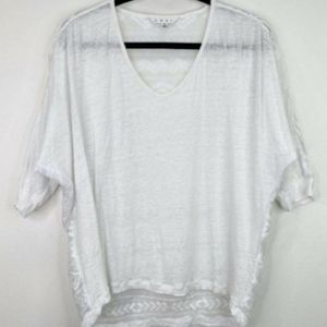 CAbi Waverly Lace Embroidered White Top, Size Small